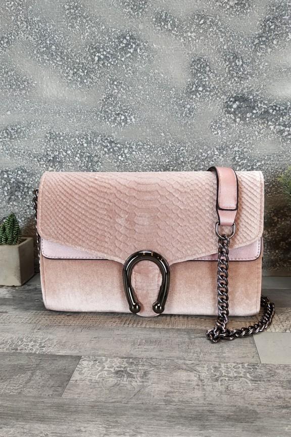 τσάντα-βελούδο-πέταλο-ροζ