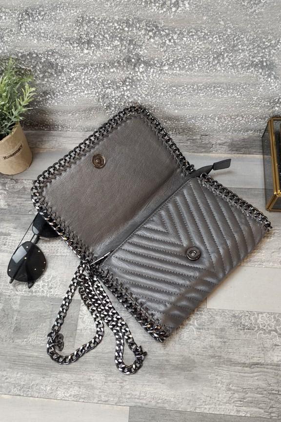 τσάντα-φάκελος-αλυσίδα-γκρι