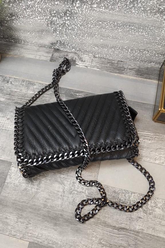 τσάντα-φάκελος-αλυσίδα-μαύρη