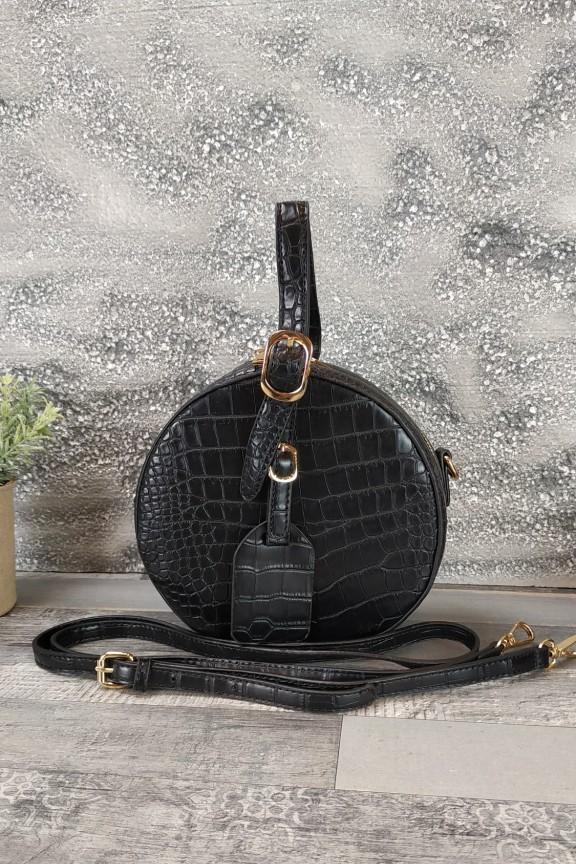 τσάντα-στρογγυλή-κροκό-μαύρη