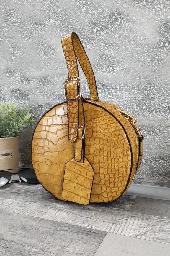 τσάντα-στρογγυλή-κροκό-μουσταρδί