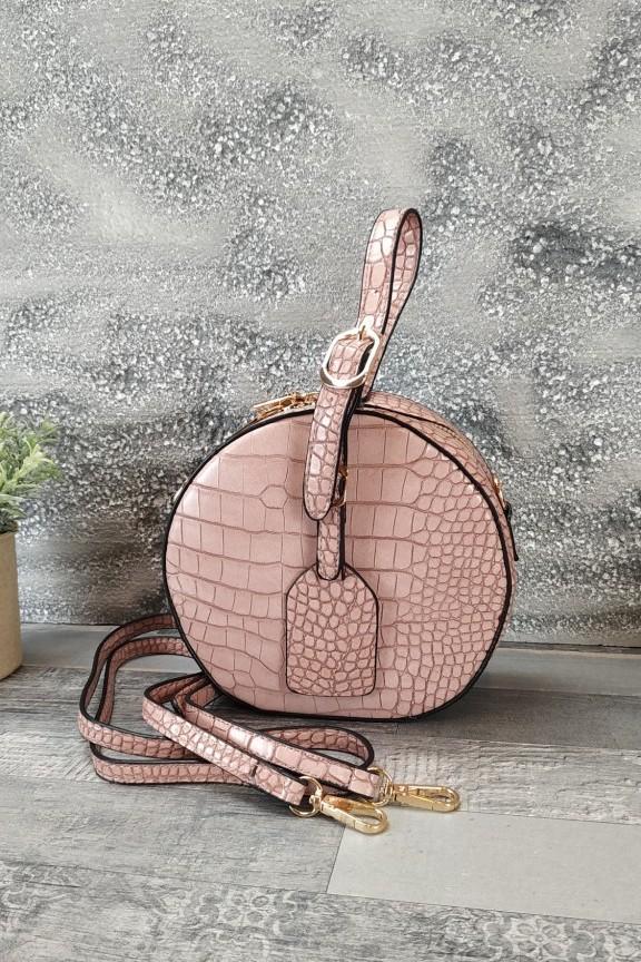 τσάντα-στρογγυλή-κροκό-ροζ