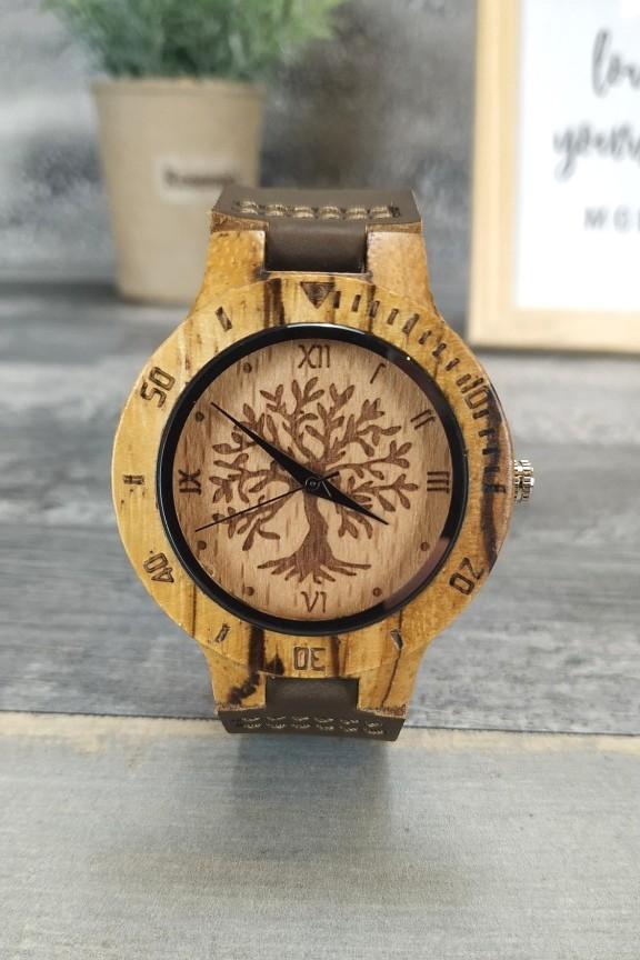 ξύλινο-ρολόι-χειρός-γυναικείο-καφέ-λουράκι-δέντρο