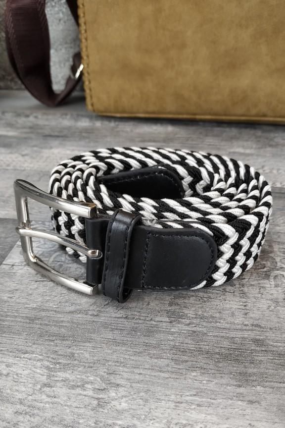 ανδρική-ζώνη-πλεκτή-ελαστική-μαύρο-λευκό