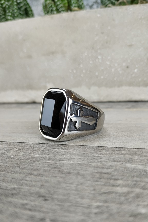 ανδρικό-δαχτυλίδι-ατσάλι-σταυρός-πέτρα