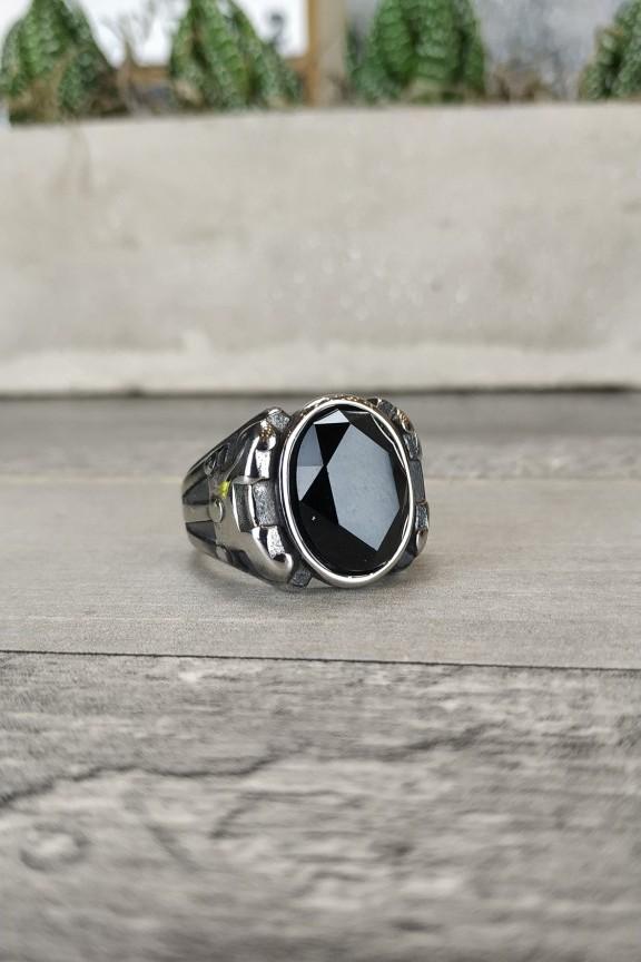 ανδρικό-δαχτυλίδι-ατσάλι-μαύρη-πέτρα