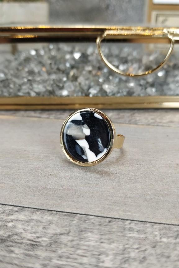 δαχτυλίδι-γυναικείο-μάρμαρο-χρυσό-μαύρο