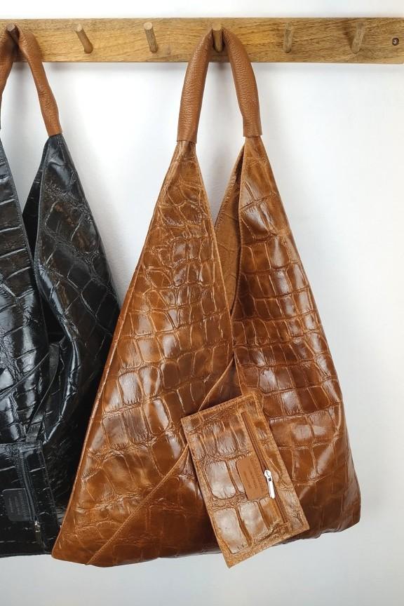 δερμάτινη-τσάντα-γυναικεία-κροκό-hobo-καφέ