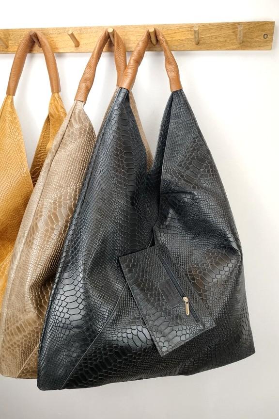 δερμάτινη-τσάντα-γυναικεία-φίδι-hobo-μαύρη