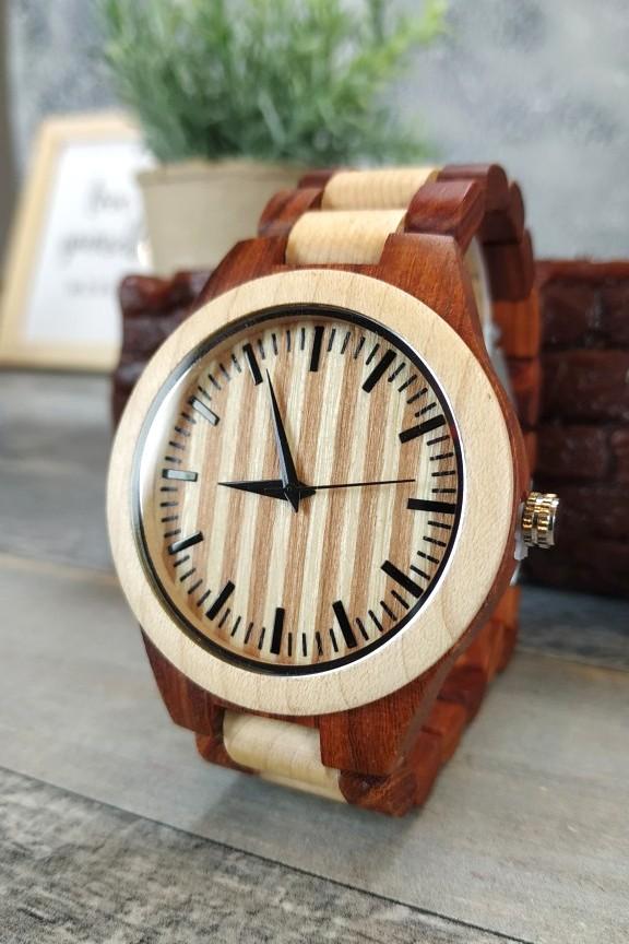 ξύλινο-ρολόι-χειρός-μπρασελέ-διχρωμία