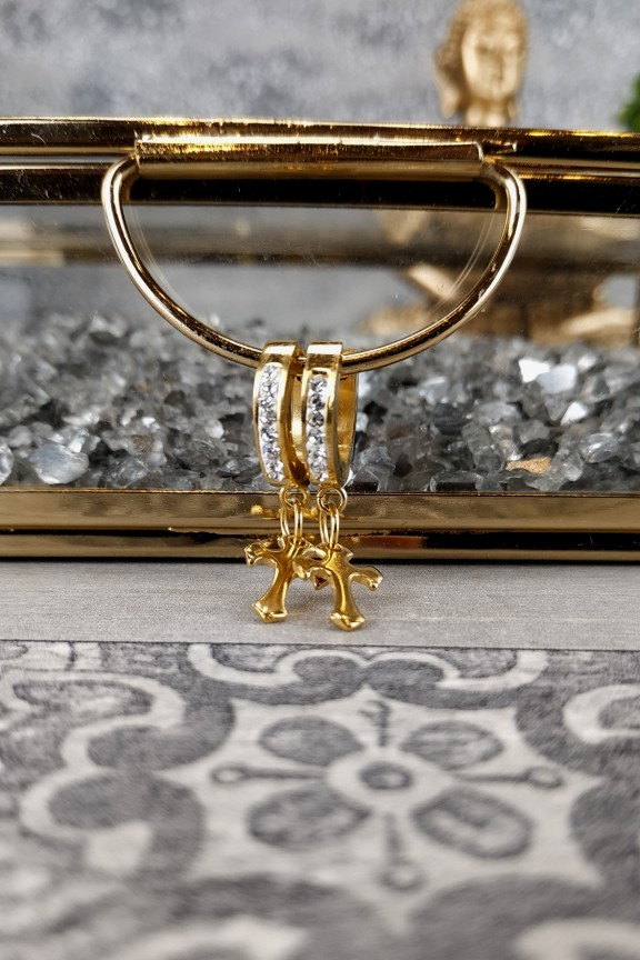 σκουλαρίκια-κρίκοι-μικροί-ατσάλι-στρας-σταυρός-χρυσά