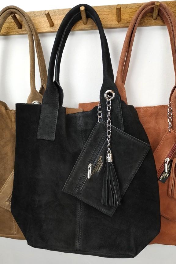 γυναικεία-δερμάτινη-τσάντα-σουέτ-μαύρη