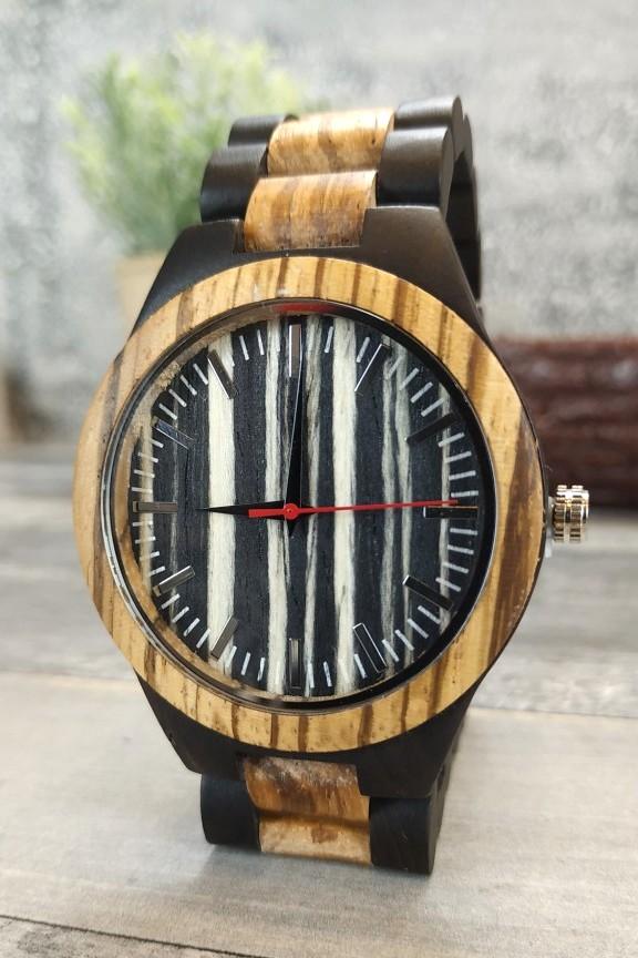 ξύλινο-ρολόι-ρίγα-μπρασελέ-διχρωμία