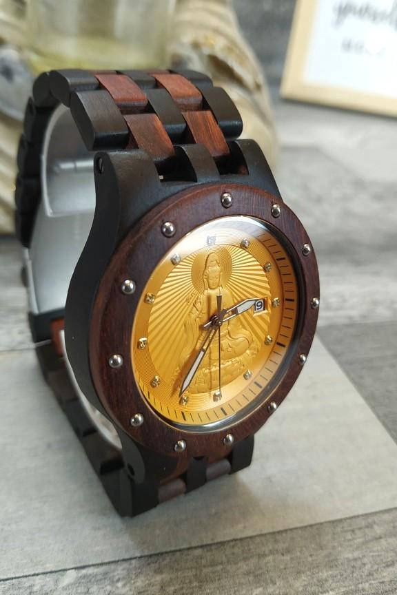 ξύλινο-ρολόι-καφέ-μαύρο-μπρασελέ-χρυσό-βούδας
