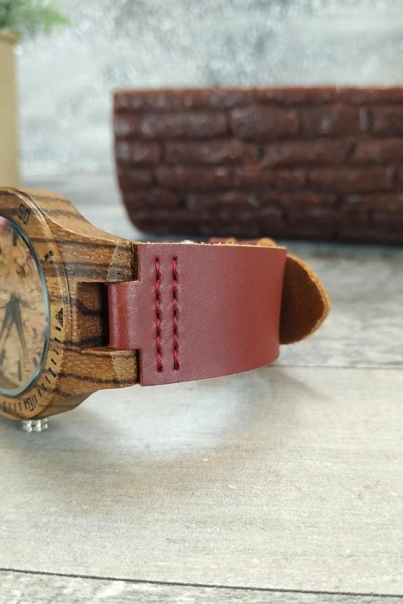 ξύλινο-ρολόι-γυναικείο-λουράκι-κόκκινο