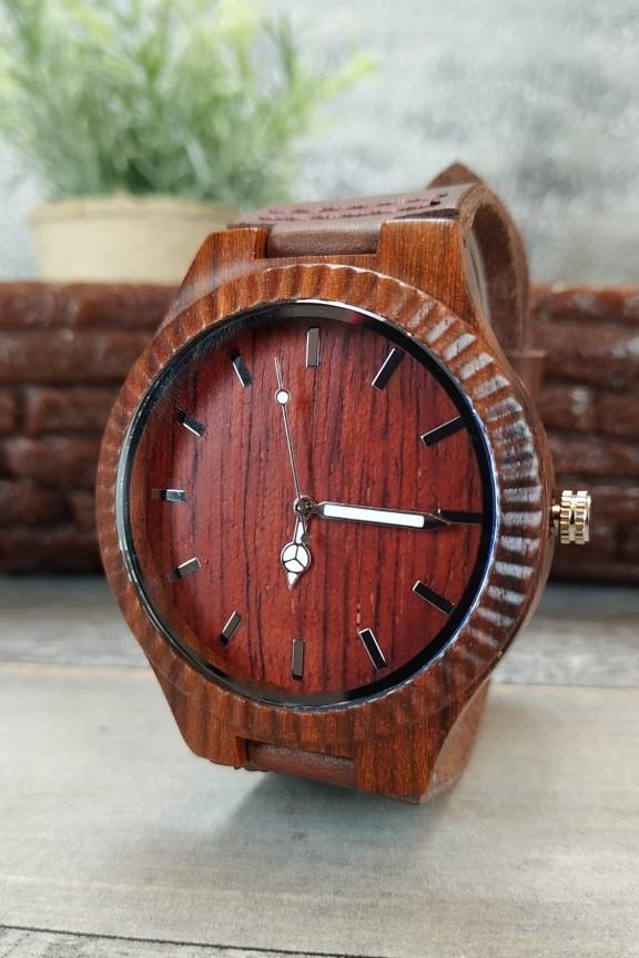 ξύλινο-ρολόι-κόκκινο-λουράκι