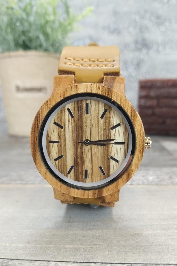 ξύλινο-ρολόι-γυναικείο-μπεζ-λουράκι