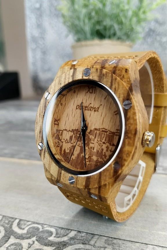 ξύλινο-ρολόι-γυναικείο-μπεζ-λουράκι-ακρόπολη