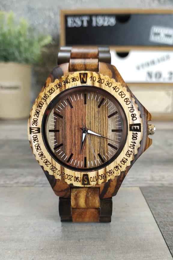 ξύλινο-ρολόι-χειρός-πυξίδα-μπρασελέ-διχρωμία