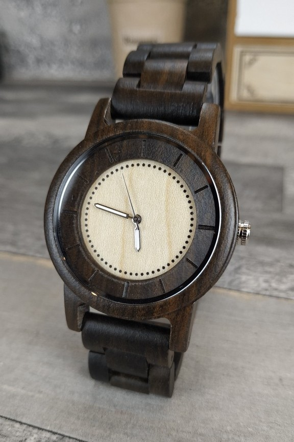 ξύλινο-ρολόι-γυναικείο-μπρασελέ-καφέ