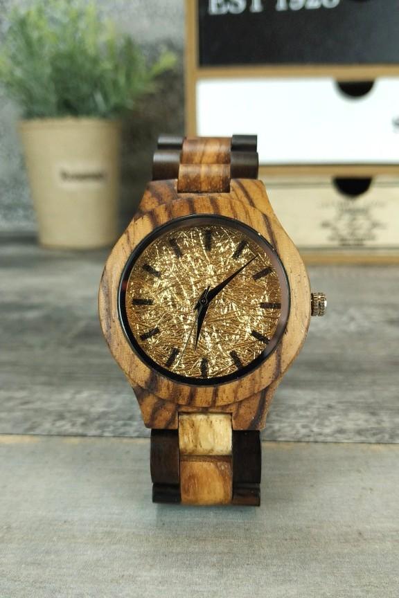 ξύλινο-ρολόι-μικρό-χρυσό-μπρασελέ