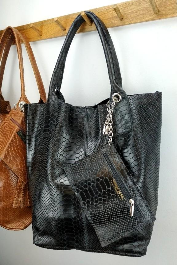 δερμάτινη-τσάντα-γυναικεία-κροκό-hobo-μαύρη