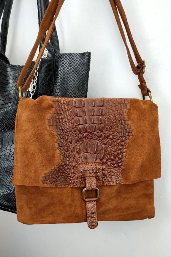 δερμάτινη-τσάντα-γυναικεία-σουέτ-κροκό-καφέ