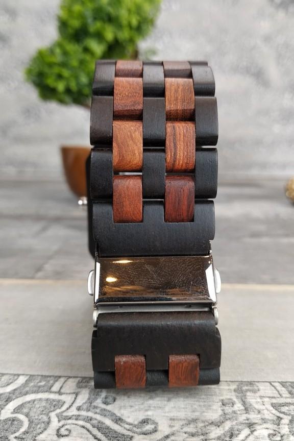 ξύλινο-ρολόι-μπρασελέ-τετράγωνο-διχρωμία