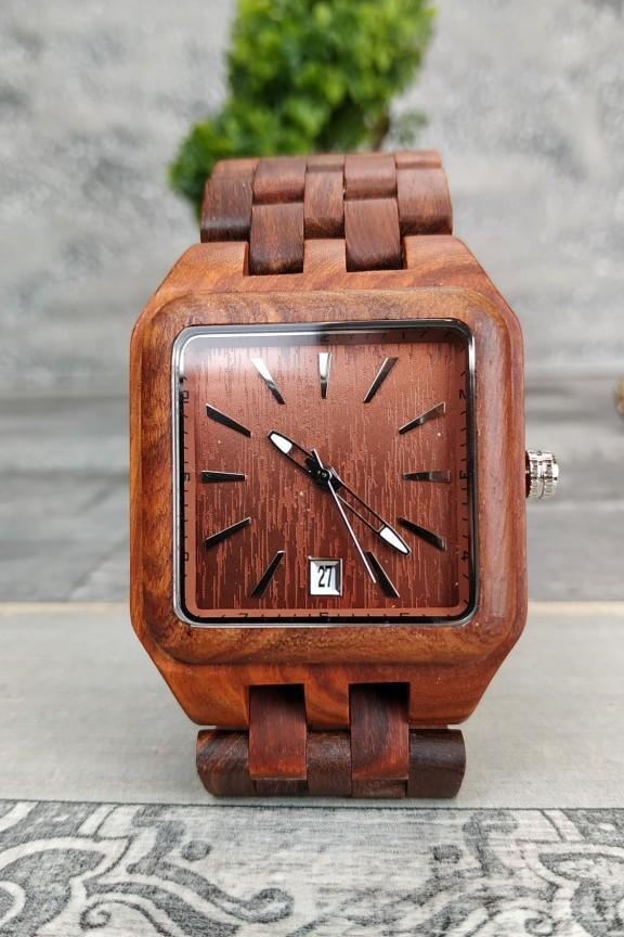 ξύλινο-ρολόι-μπρασελέ-τετράγωνο-κερασιά