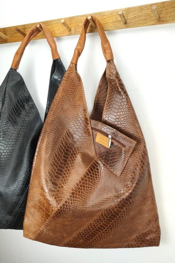 δερμάτινη-τσάντα-γυναικεία-φίδι-hobo-καφέ