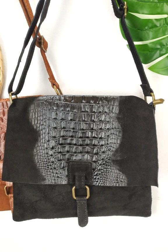 δερμάτινη-τσάντα-κροκό-καστόρι-μαύρη
