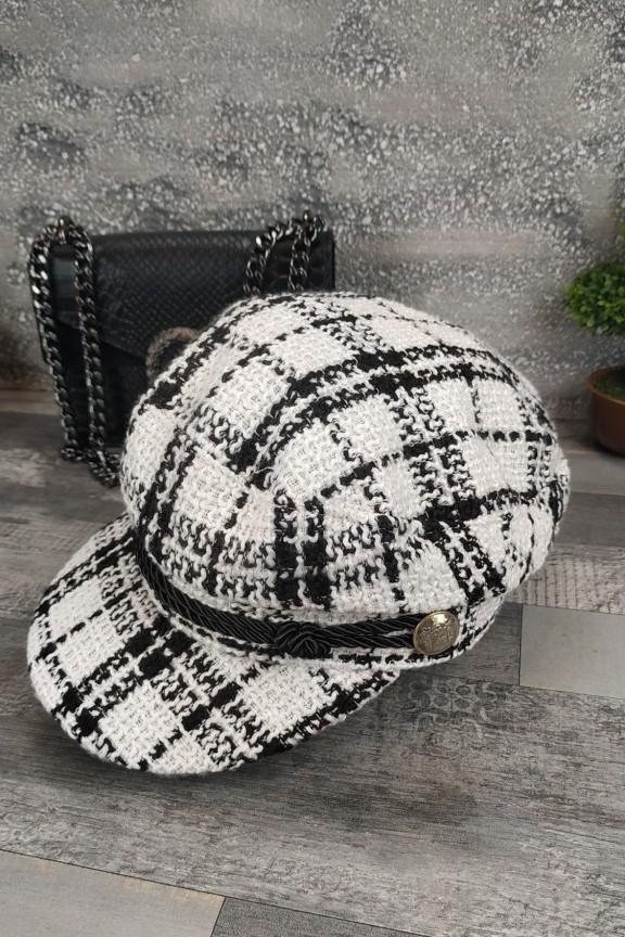 γυναικείο-καπέλο-μπερές-λευκό-μαύρο