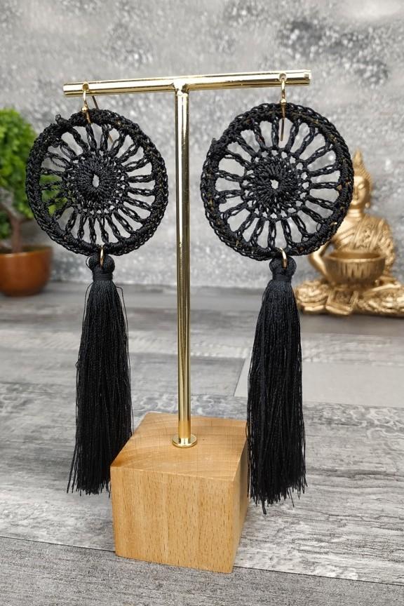 σκουλαρίκια-πλεκτά-ονειροπαγίδα-μαύρα