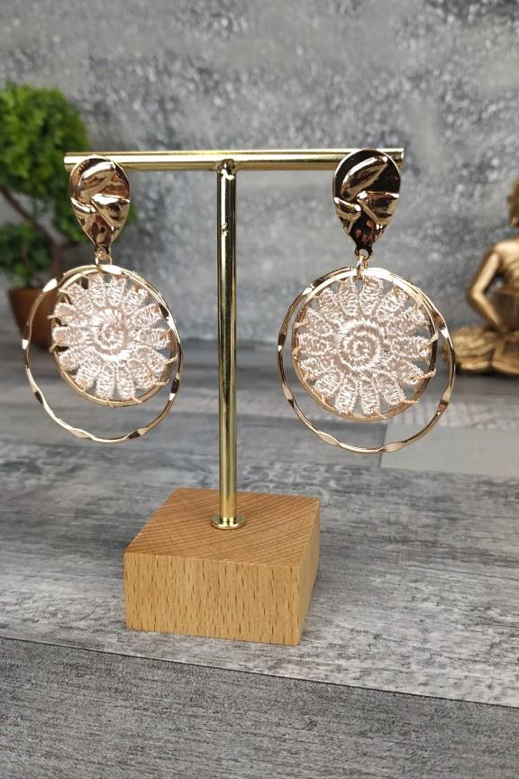 σκουλαρίκια-πλεκτά-χειροποίητα-εκρού-χρυσό