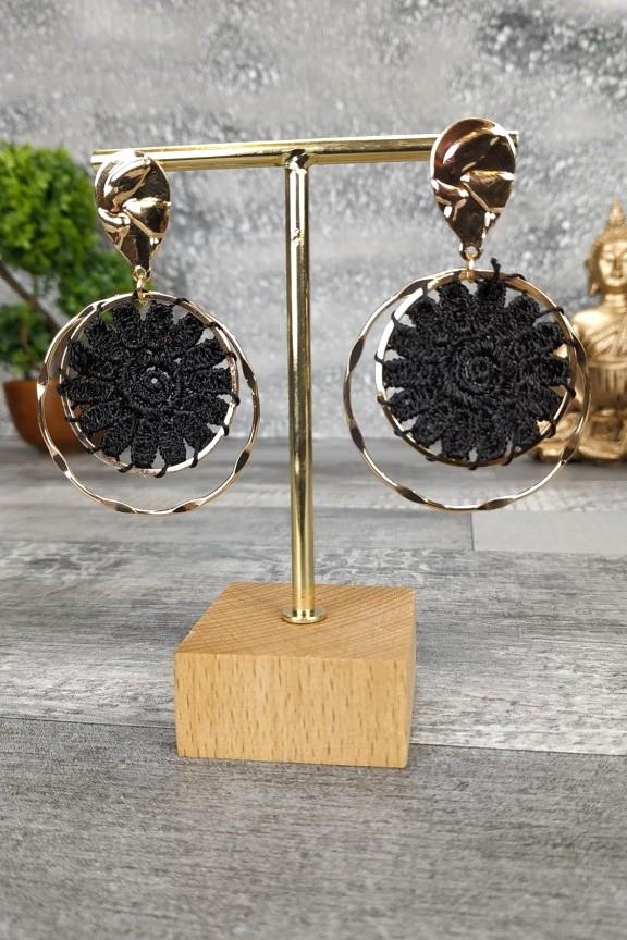 σκουλαρίκια-πλεκτά-χειροποίητα-μαύρα-χρυσό