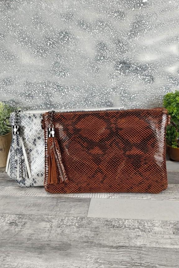 δερμάτινη-τσάντα-φάκελος-φίδι-καφέ