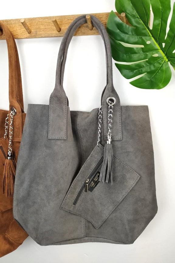 δερμάτινη-τσάντα-καστόρι-γκρι-ώμου