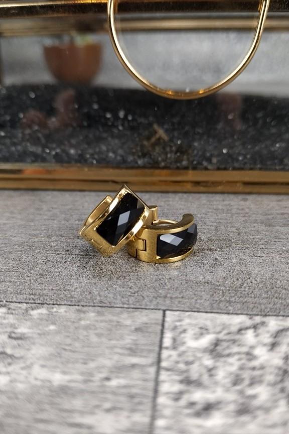 σκουλαρίκια-κρικάκια-ατσάλι-χρυσό-μαύρη-πέτρα