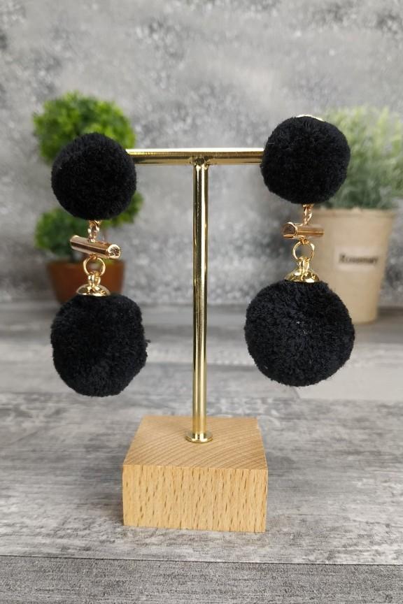 σκουλαρίκια-γουνάκι-μαύρο