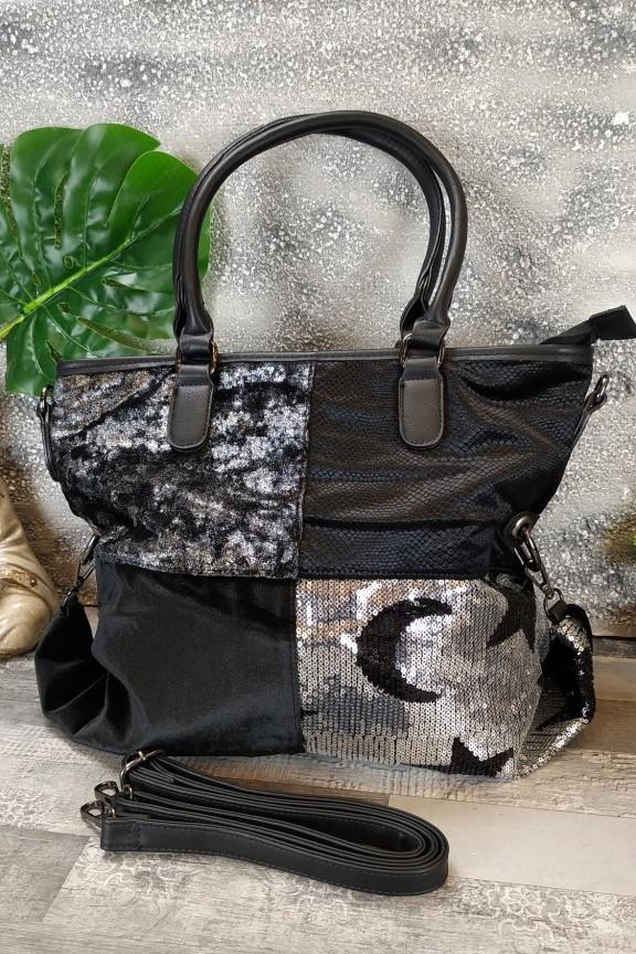 τσάντα-ώμου-hobo-στρας-μαύρη