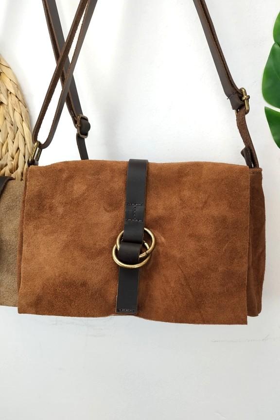 δερμάτινη-τσάντα-καστόρι-καφέ-κρίκο