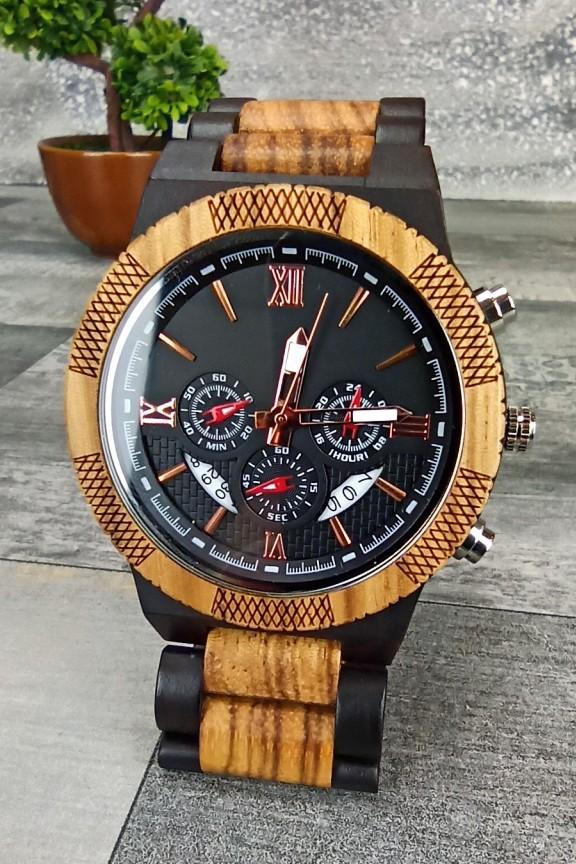 ξύλινο-ρολόι-χρονογράφος-μπρασελέ-καφέ-μαύρο