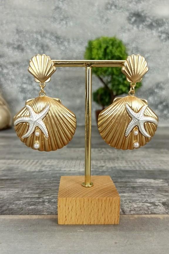 σκουλαρίκια-αχιβάδα-αστερίας-χρυσά