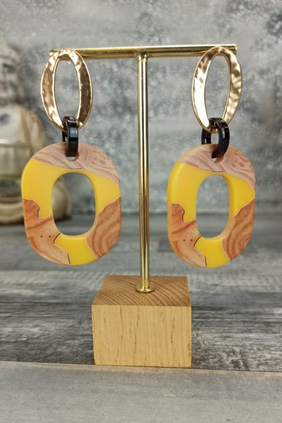 σκουλαρίκια-ρητίνη-ξύλο-κίτρινα