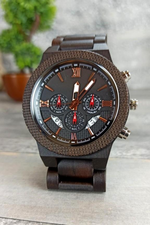 ξύλινο-ρολόι-χειρός-μαύρο-μπρασελέ-χρονογράφος