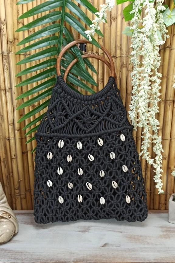 πλεκτή-τσάντα-κοχύλια-μαύρη