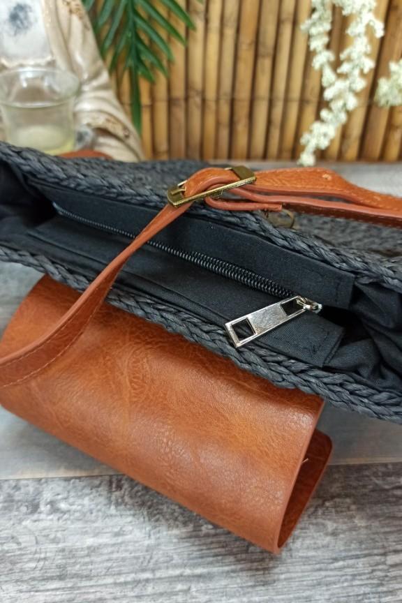 ψάθινη-τσάντα-με-δερματίνη-μαύρη