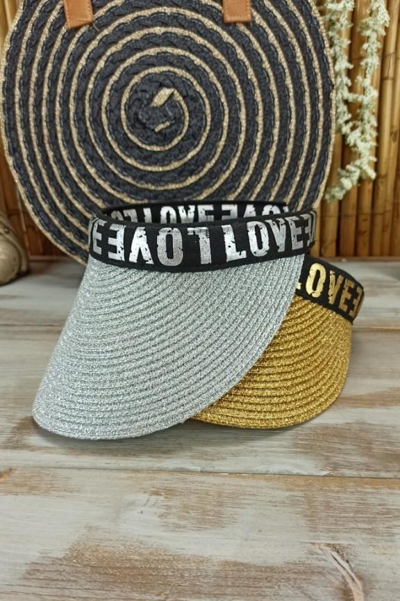 ψάθινο-καπέλο-visor-ασημί