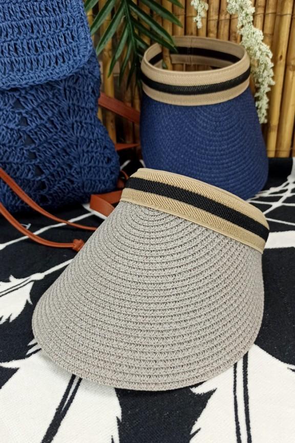 ψάθινο-καπέλο-visor-γκρι