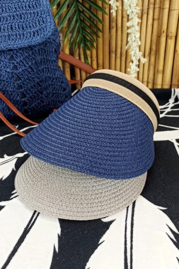 ψάθινο-καπέλο-visor-μπλε